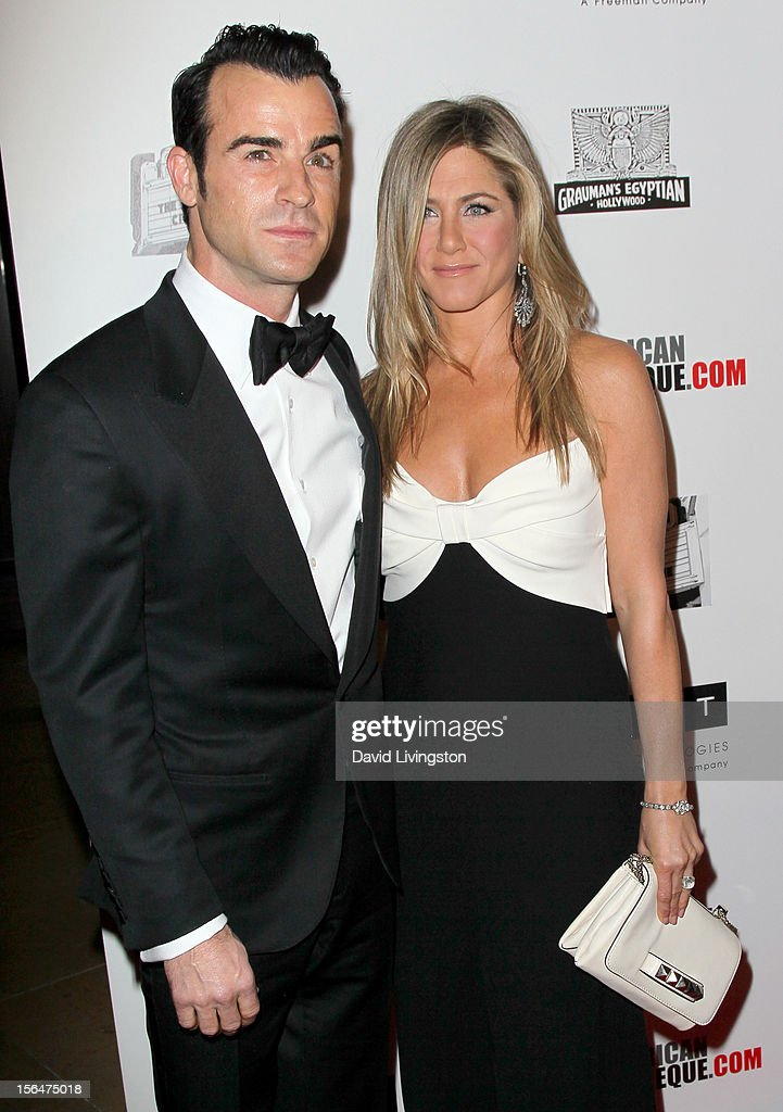 Actor Justin Theroux (L) and actress Jennifer Aniston attend the 26th American Cinematheque Award Gala honoring Ben Stiller at The Beverly Hilton Hotel on November 15, 2012 in Beverly Hills, California.