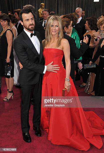 Actor Justin Theroux and actress Jennifer Aniston attend the 85th Annual Academy Awards held at the Hollywood Highland Center on February 24 2013 in...