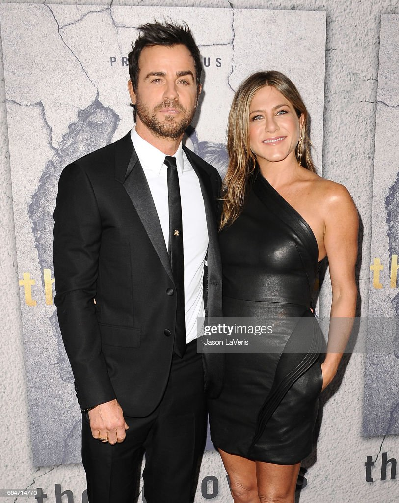 Actor Justin Theroux and actress Jennifer Aniston attend the season 3 premiere of 'The Leftovers' at Avalon Hollywood on April 4, 2017 in Los Angeles, California.