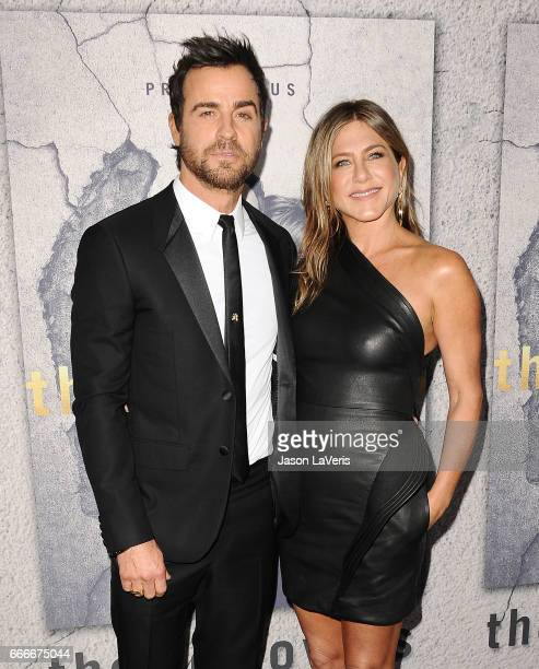 Actor Justin Theroux and actress Jennifer Aniston attend the season 3 premiere of 'The Leftovers' at Avalon Hollywood on April 4 2017 in Los Angeles...