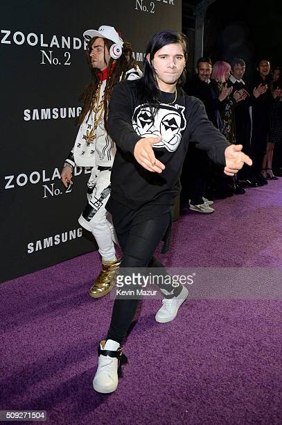 Actor Justin Theroux and Skrillex attend the 'Zoolander 2' World Premiere at Alice Tully Hall on February 9 2016 in New York City