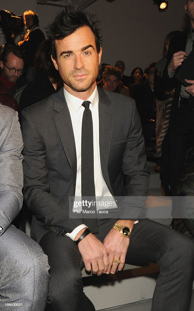 Actor Justin Theroux attends the Calvin Klein Collection show as part of Milan Fashion Week Menswear Autumn/Winter 2013 on January 13, 2013 in Milan, Italy.