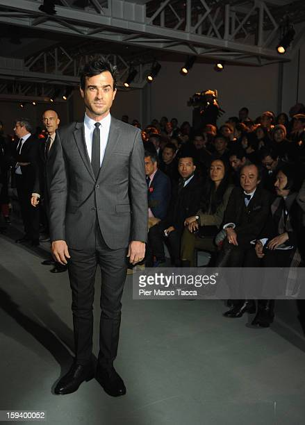 Actor Justin Theroux attends the Calvin Klein Collection show as part of Milan Fashion Week Menswear Autumn/Winter 2013 on January 13 2013 in Milan...