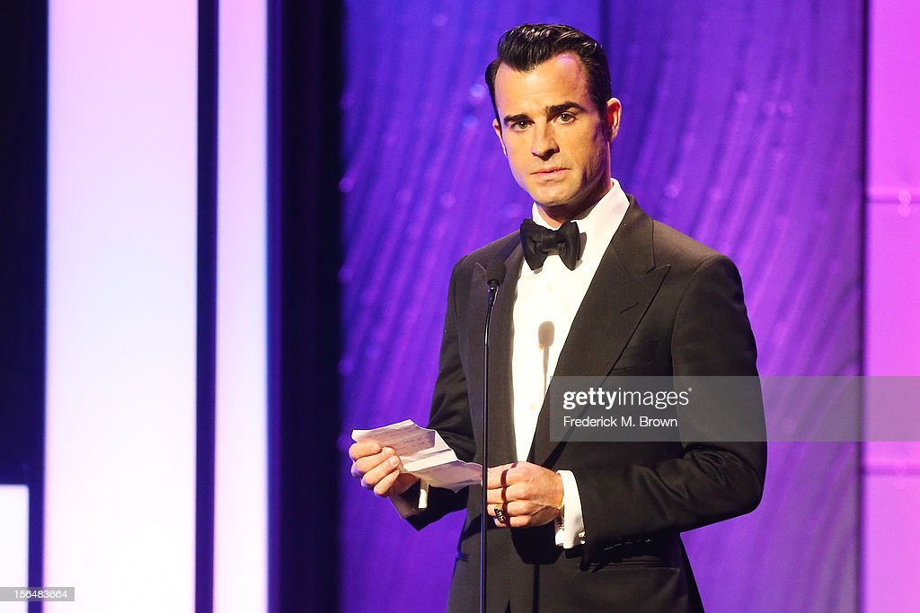 Actor <a gi-track='captionPersonalityLinkClicked' href=/galleries/search?phrase=Justin+Theroux&family=editorial&specificpeople=240634 ng-click='$event.stopPropagation()'>Justin Theroux</a> speaks onstage during the 26th American Cinematheque Award Gala honoring Ben Stiller at The Beverly Hilton Hotel on November 15, 2012 in Beverly Hills, California.