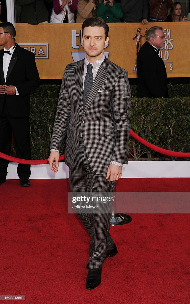 Actor Justin Timberlake arrives at the 19th Annual Screen Actors Guild Awards at The Shrine Auditorium on January 27, 2013 in Los Angeles, California.