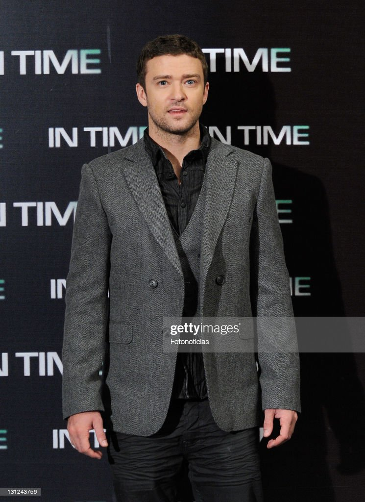 Actor <a gi-track='captionPersonalityLinkClicked' href=/galleries/search?phrase=Justin+Timberlake&family=editorial&specificpeople=157482 ng-click='$event.stopPropagation()'>Justin Timberlake</a> attends a photocall for 'In Time' at the Villamagna Hotel on November 3, 2011 in Madrid, Spain.