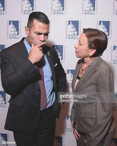Actor JWCortes and Congresswoman Nydia Velazquez at the Congressional Hispanic Caucus Institute Holiday Reception benefitting Puerto Rico youth at...