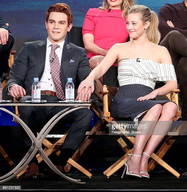 Actor K J Apa and actress Lili Reinhart of the 'Riverdale' television show speak during the CW portion of the 2017 Winter Television Critics...