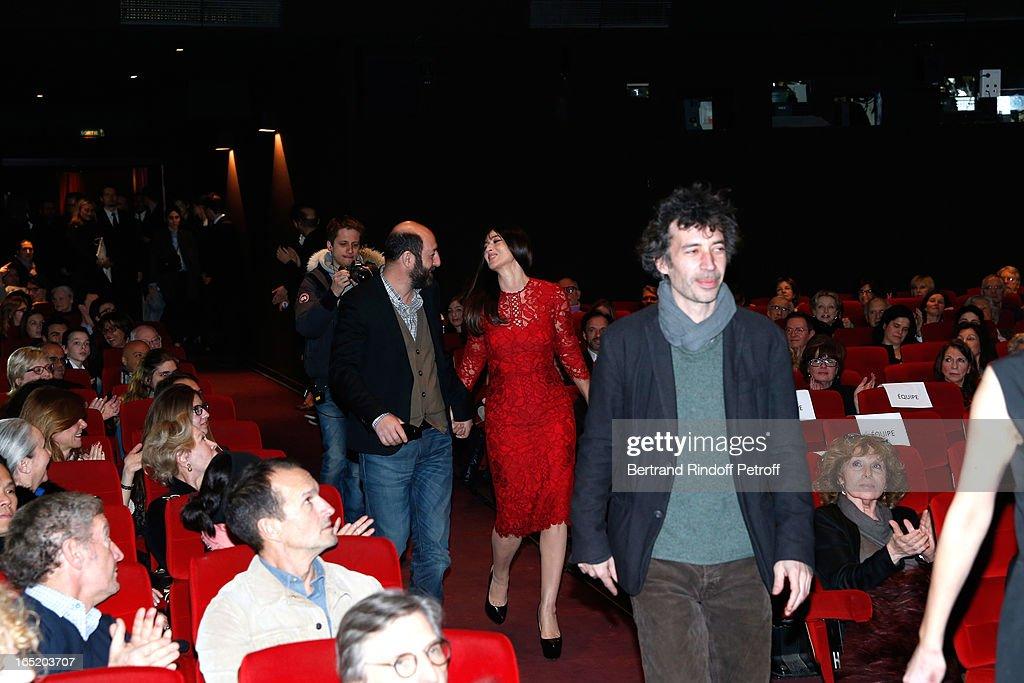 Actor Kad Merad; Actress Monica Bellucci and Actor Eric Elmosnino attend 'Des gens qui s'embrassent' movie premiere at Cinema Gaumont Marignan on April 1, 2013 in Paris, France.