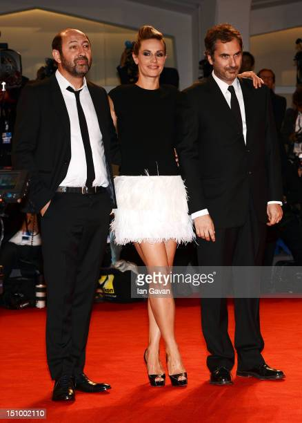 Actor Kad Merad with actress Cecile De France and director Xavier Giannoli attend the 'Superstar' premiere during the 69th Venice Film Festival at...