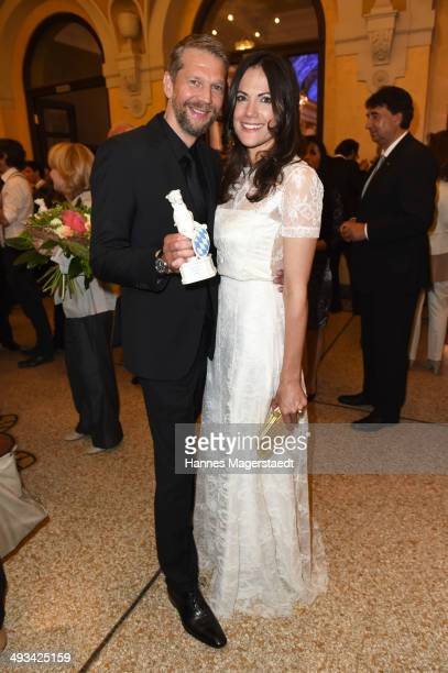 Actor Kai Wiesinger and his girlfriend Bettina Zimmermann attend the 'Bayerischer Fernsehpreis 2014' at Prinzregententheater on May 23 2014 in Munich...