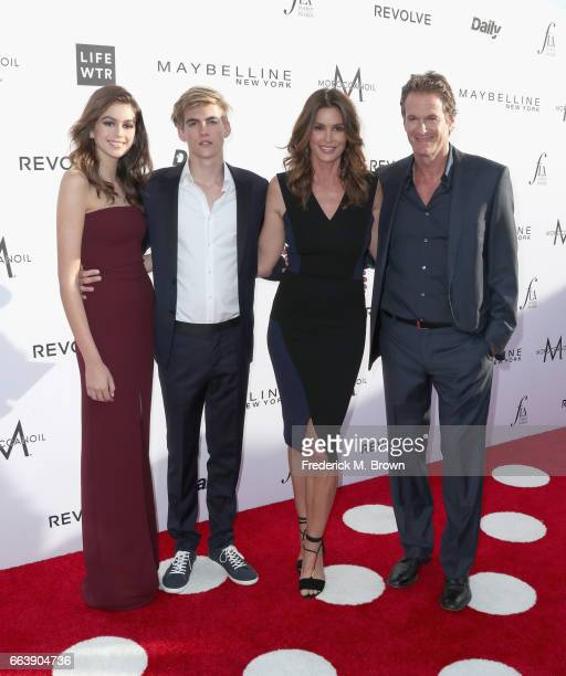 Actor Kaia Gerber honoree Presley Gerber Cindy Crawford and Rande Gerber attend the Daily Front Row's 3rd Annual Fashion Los Angeles Awards at Sunset...