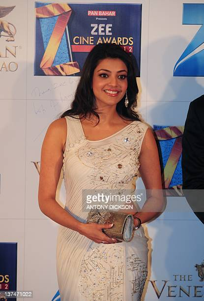 Actor Kajal Aggarwal attends the red carpet event before the Zee Cine Awards 2012 in Macau on January 21 2012 The Zee Cine Awards 2012 honours...