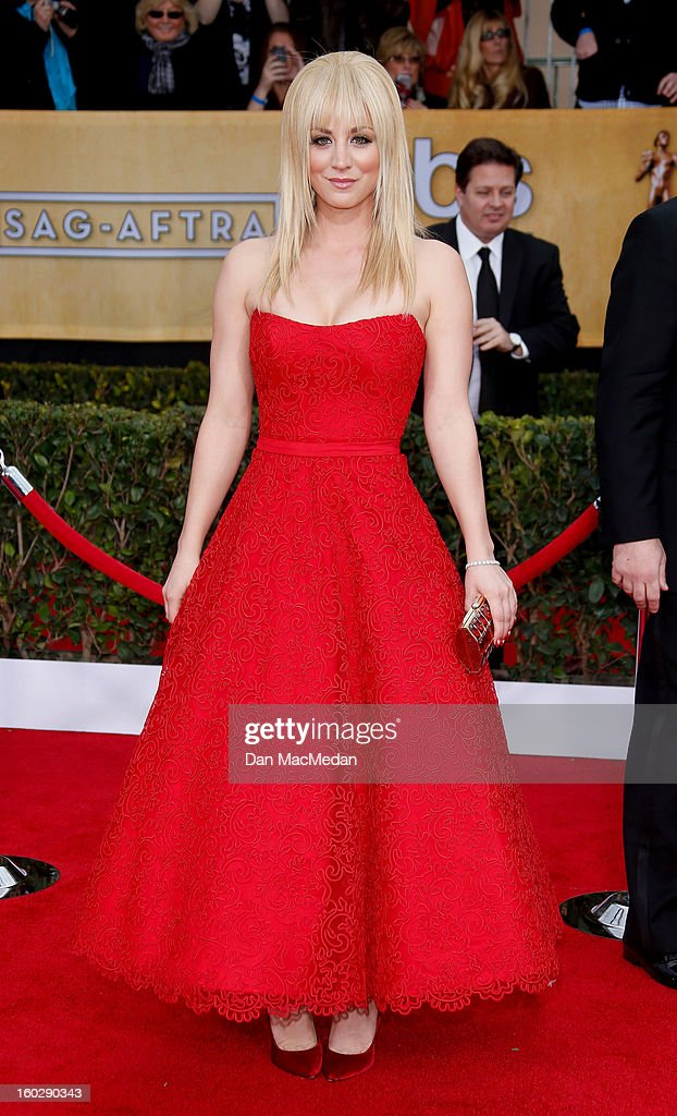Actor Kaley Cuoco arrives at the 19th Annual Screen Actors Guild Awards at the Shrine Auditorium on January 27, 2013 in Los Angeles, California.
