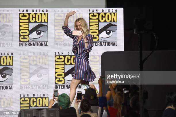 Actor Kaley Cuoco onstage at the 'The Big Bang Theory' panel during ComicCon International 2017 at San Diego Convention Center on July 21 2017 in San...