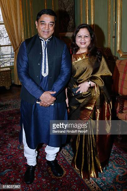 Actor Kamal Haasan and Wife of the Indian Ambassador to Paris Mala Kumar attend the Tribute to Indian actor and director Kamal Haasan during the...