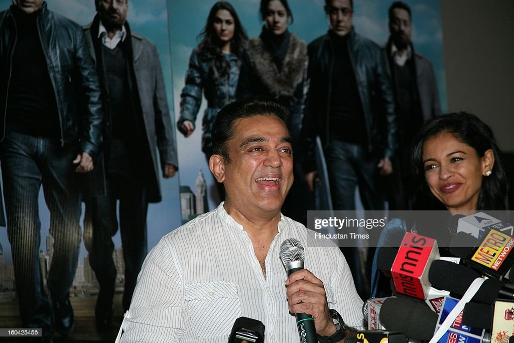 Actor Kamal Haasan at the press conference after the premiere of the Hindi version of his film Viswaroopam at PVR Juhu on January 31 2013 in Mumbai...