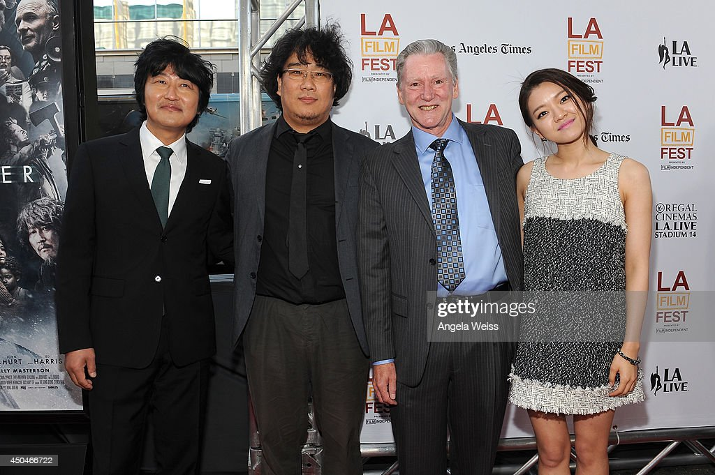 Actor Kang-ho Song, director Joon-ho Bong, writer Kelly Masterson and actress Ah-sung Ko attend the opening night premiere of 'Snowpiercer' during the 2014 Los Angeles Film Festival at Regal Cinemas L.A. Live on June 11, 2014 in Los Angeles, California.