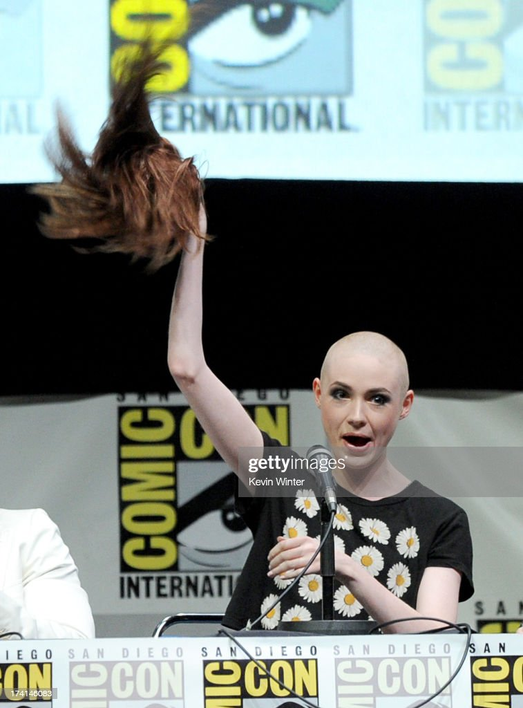 Actor <a gi-track='captionPersonalityLinkClicked' href=/galleries/search?phrase=Karen+Gillan&family=editorial&specificpeople=6876471 ng-click='$event.stopPropagation()'>Karen Gillan</a> speaks onstage at Marvel Studios 'Guardians of the Galaxy' during Comic-Con International 2013 at San Diego Convention Center on July 20, 2013 in San Diego, California.