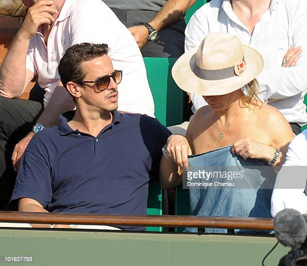 Actor Karim Adda and actrice Julie Ferrier sighting at the French open on June 3 2010 in Paris France