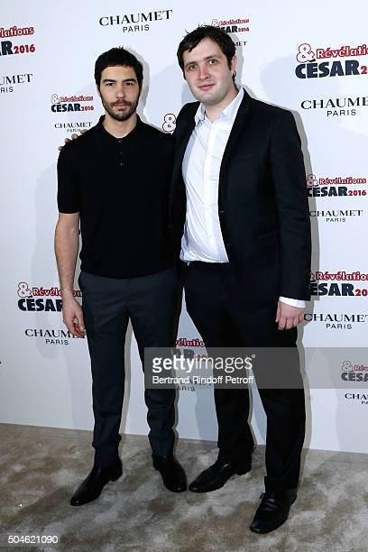 Actor Karim Leklou nominated for 'Coup de chaud' and his sponsor Tahar Rahim dressed in Prada attend the 'Cesar Revelations 2016' Photocall at...