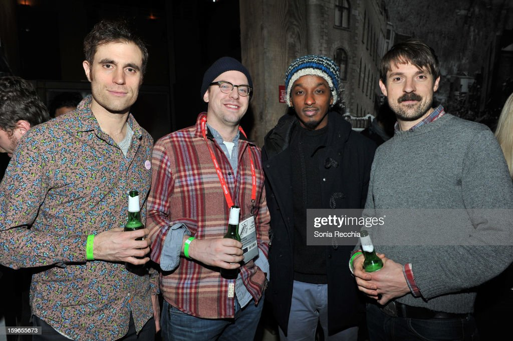 Actor Karl Jacob, director Russ Harbaugh, recording artist K'Naan and Michael Prall attend the Day One Party during the 2013 Sundance Film Festival at Legacy Lodge on January 17, 2013 in Park City, Utah.