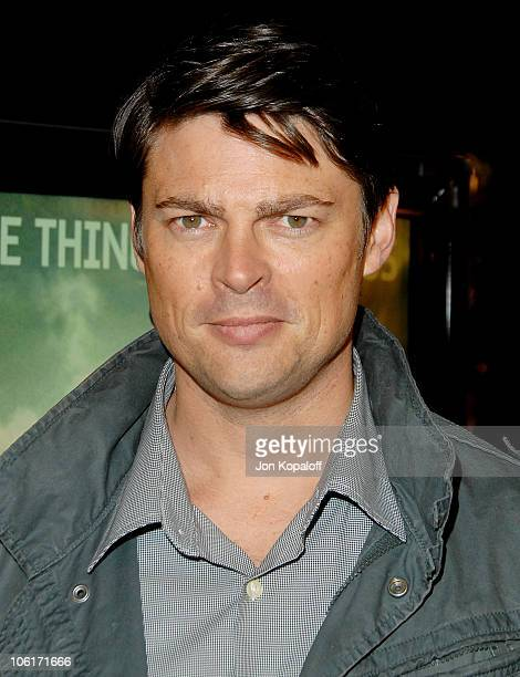 Actor Karl Urban arrives at the Los Angeles Premiere 'Cloverfield' at Paramount Studios on January 16 2008 in Los Angeles California