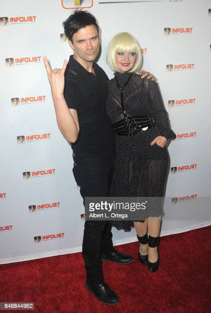 Actor Kash Hovey and singer/actress Christa Collins arrive for the INFOLISTcom's hosted PreEmmys Soiree Benefitting Victims Of Hurricane Harvey held...