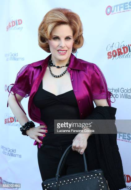 Actor Kat Kramer attends the premiere of Beard Collins Shores Productions' 'A Very Sordid Wedding' at Laemmle's Ahrya Fine Arts Theatre on August 16...