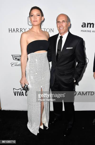 Actor Kate Hudson and producer Jeffrey Katzenberg attend the amfAR Gala at Ron Burkle's Green Acres Estate on October 13 2017 in Beverly Hills...