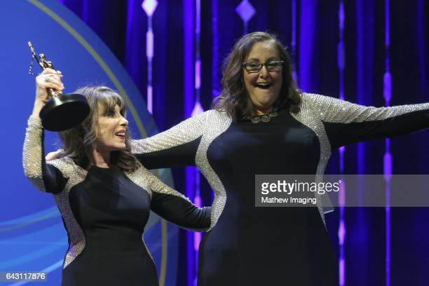 Actor Kate Linder and hairstylist Laura Caponera recipient of the Best Hair StylingTheatrical Production Award for 'Amadeus' onstage at the 2017...