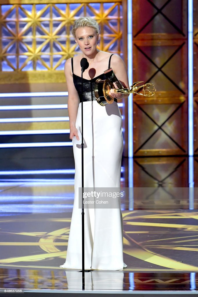 Actor Kate McKinnon accepts the Outstanding Supporting Actress in a Comedy Series award for 'Saturday Night Live' onstage during the 69th Annual Primetime Emmy Awards at Microsoft Theater on September 17, 2017 in Los Angeles, California.