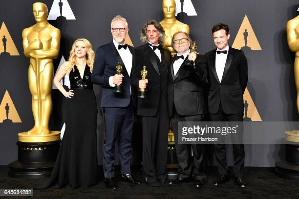 Actor Kate McKinnon makeup artists Christopher Nelson Giorgio Gregorini Alessandro Bertolazzi winners of the Best Makeup and Hairstyling award for...