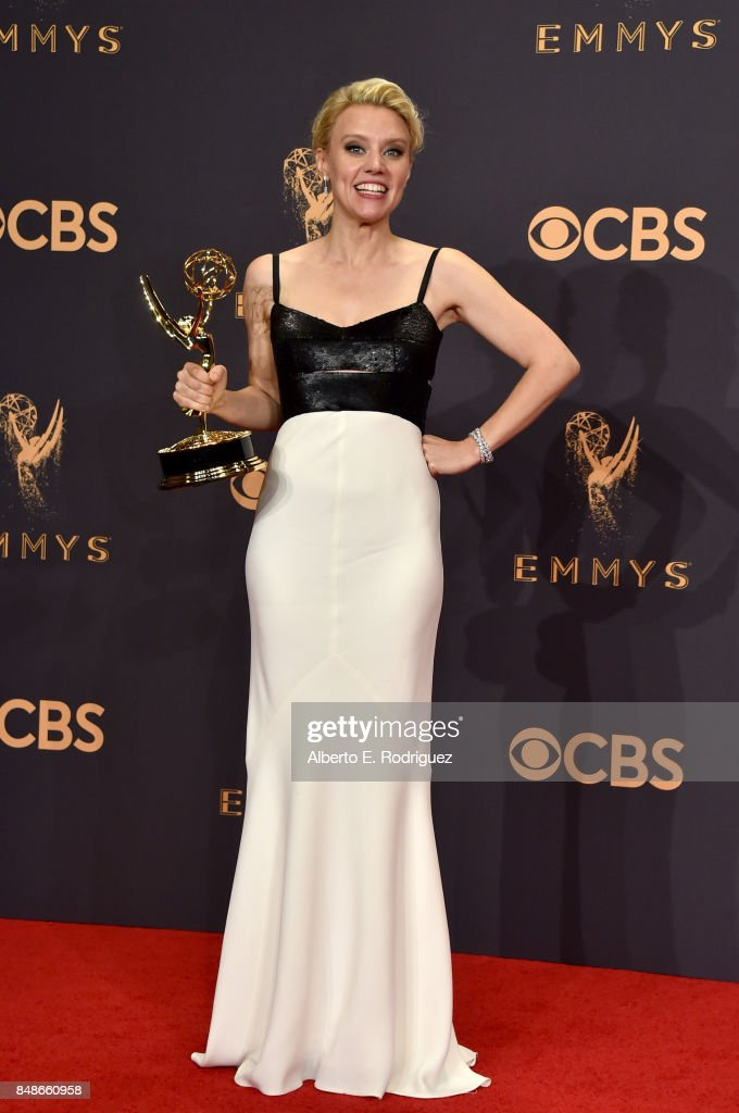 Actor Kate McKinnon, winner of Outstanding Supporting Actress in a Comedy Series for 'Saturday Night Live', poses in the press room during the 69th Annual Primetime Emmy Awards at Microsoft Theater on September 17, 2017 in Los Angeles, California.