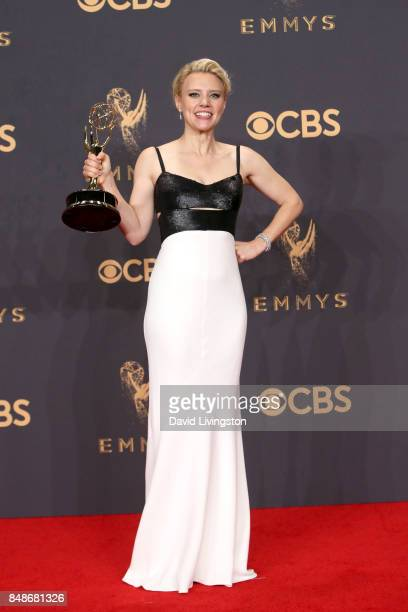 Actor Kate McKinnon winner of Outstanding Supporting Actress in a Comedy Series for 'Saturday Night Live' poses in the press room during the 69th...