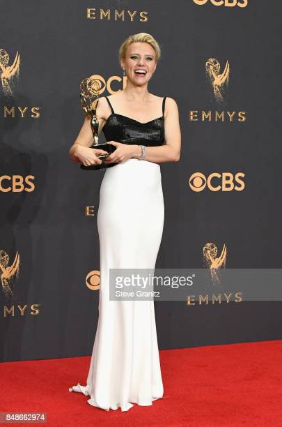 Actor Kate McKinnon winner of the award for Outstanding Supporting Actress in a Comedy Series for 'Saturday Night Live' poses in the press room...