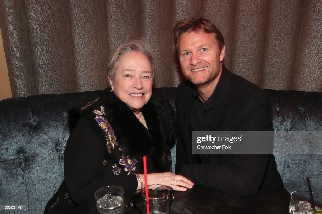 Actor Kathy Bates (L) and guest attend Interscope's Grammy After Party with Lady Gaga at the Peppermint Club on February 12, 2017 in Los Angeles, California.
