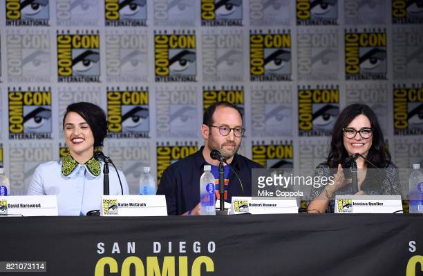 Actor Katie McGrath producer Robert L Rovner and writer Jessica Queller attend the 'Supergirl' special video presentation during ComicCon...