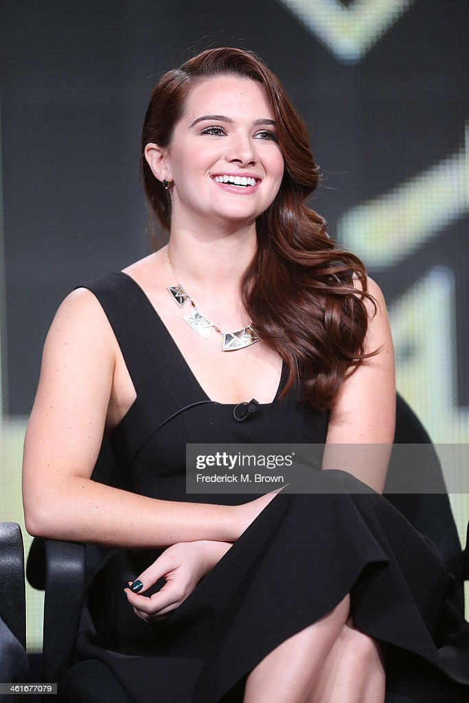 Actor <a gi-track='captionPersonalityLinkClicked' href=/galleries/search?phrase=Katie+Stevens&family=editorial&specificpeople=6749187 ng-click='$event.stopPropagation()'>Katie Stevens</a> speaks onstage during the 'MTV - Faking It' panel discussion at the Viacom portion of the 2014 Winter Television Critics Association tour at the Langham Hotel on January 10, 2014 in Pasadena, California.