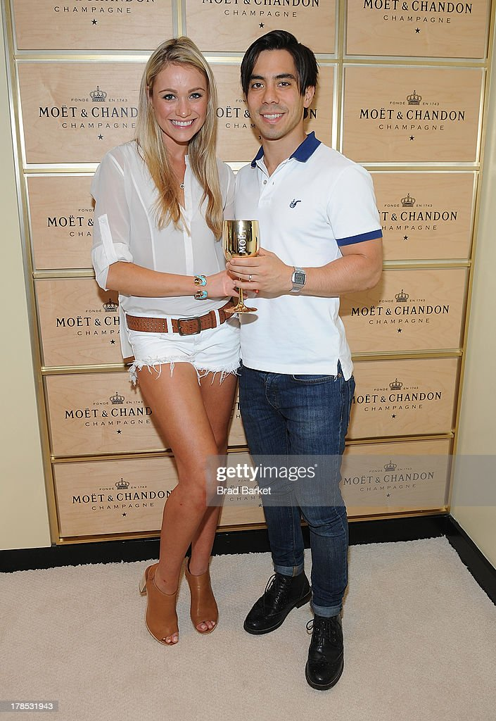 Actor <a gi-track='captionPersonalityLinkClicked' href=/galleries/search?phrase=Katrina+Bowden&family=editorial&specificpeople=4272761 ng-click='$event.stopPropagation()'>Katrina Bowden</a> (L) and Ben Jorgensen attend The Moet & Chandon Suite at USTA Billie Jean King National Tennis Center on August 29, 2013 in New York City.