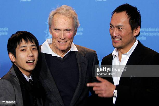 Actor Kazunari Ninomiya director Clint Eastwood and actor Ken Watanabe attend the photocall to promote the movie 'Letters From Iwo Jima' during the...