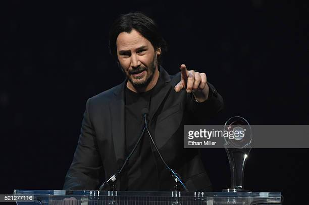 Actor Keanu Reeves accepts the Vanguard Award during the CinemaCon Big Screen Achievement Awards brought to you by the CocaCola Company at The...