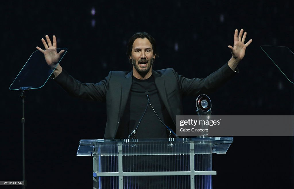 Actor Keanu Reeves accepts the Vanguard Award during the CinemaCon Big Screen Achievement Awards at The Colosseum at Caesars Palace during CinemaCon...