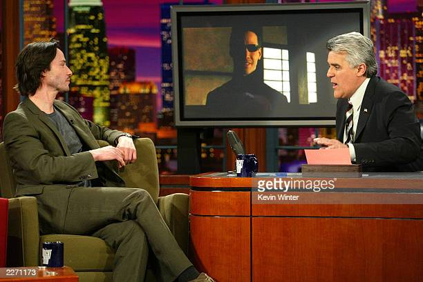 Actor Keanu Reeves appears on 'The Tonight Show with Jay Leno' at the NBC Studios on May 8 2003 in Burbank California