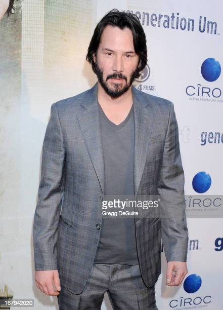 Actor Keanu Reeves arrives at the Los Angeles premiere of 'Generation UM' at ArcLight Hollywood on May 2 2013 in Hollywood California
