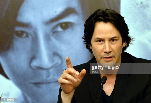 Actor Keanu Reeves attends 'Man of Tai Chi' press conference at CGV cinema on June 28 2013 in Wuhan China