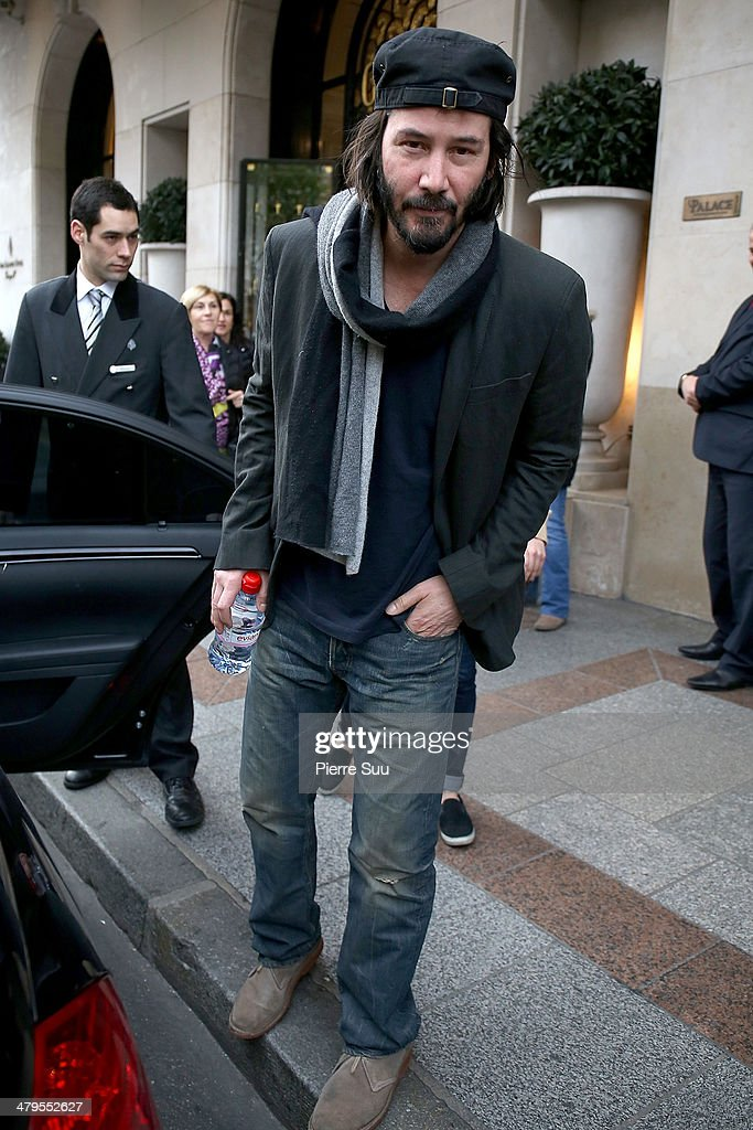 Actor Keanu Reeves leaves his hotel on March 19, 2014 in Paris, France.