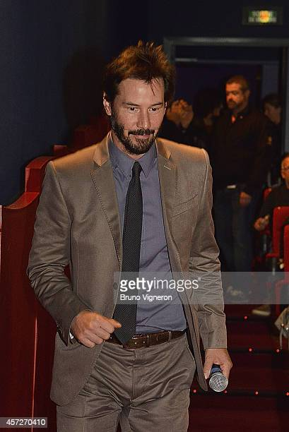 Actor Keanu Reeves presents the film 'Side by Side' during the Grand Lyon Film Festival on October 15 2014 in Lyon France