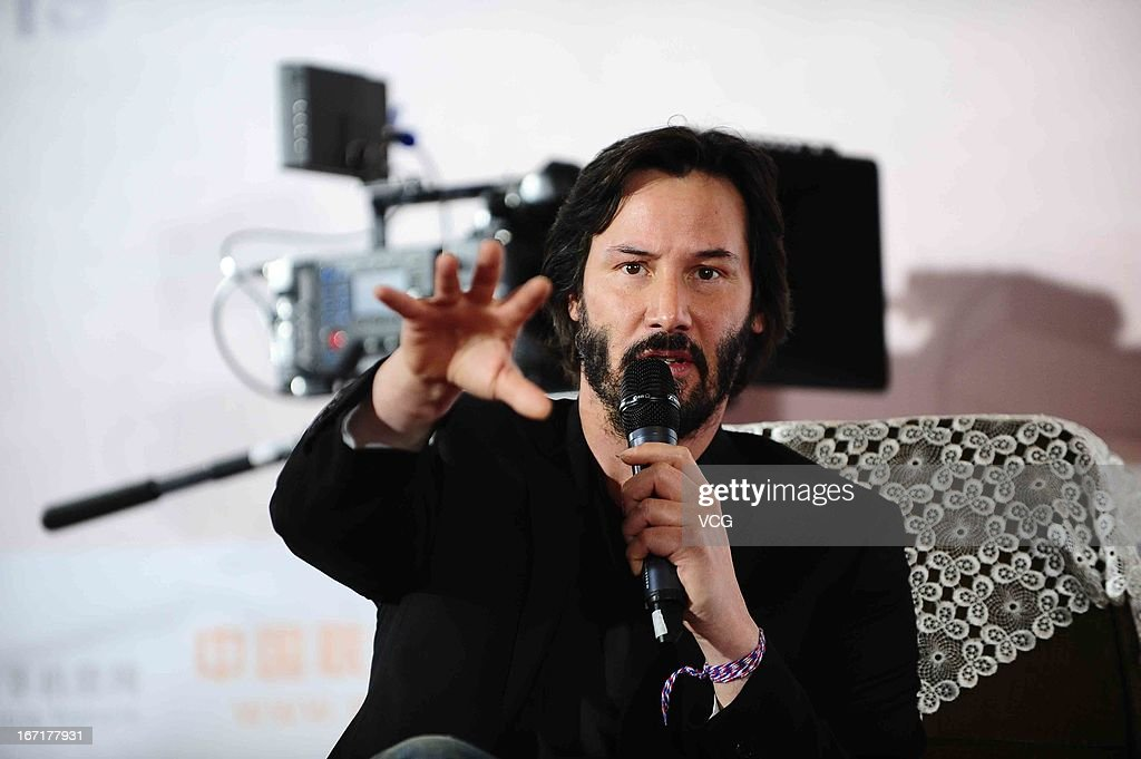Actor <a gi-track='captionPersonalityLinkClicked' href=/galleries/search?phrase=Keanu+Reeves&family=editorial&specificpeople=171568 ng-click='$event.stopPropagation()'>Keanu Reeves</a> speaks in front of an ARRI ALEXA digital motion picture camera during a 3D movie technology forum as a part of the 3rd Beijing International Film Festival on April 22, 2013 in Beijing, China.