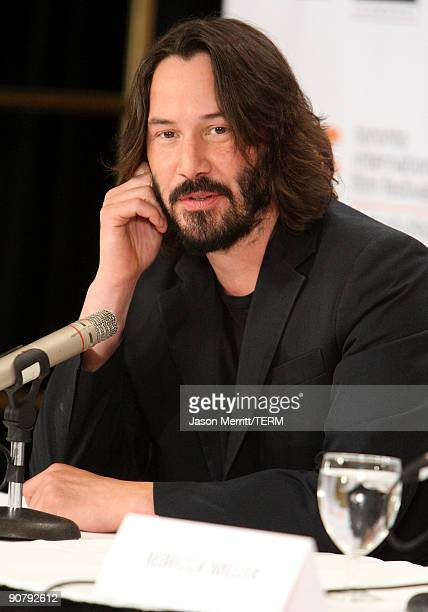 Actor Keanu Reeves speaks onstage at the 'The Private Lives Of Pippa Lee' press conference held at the Four Seasons Hotel on September 15 2009 in...
